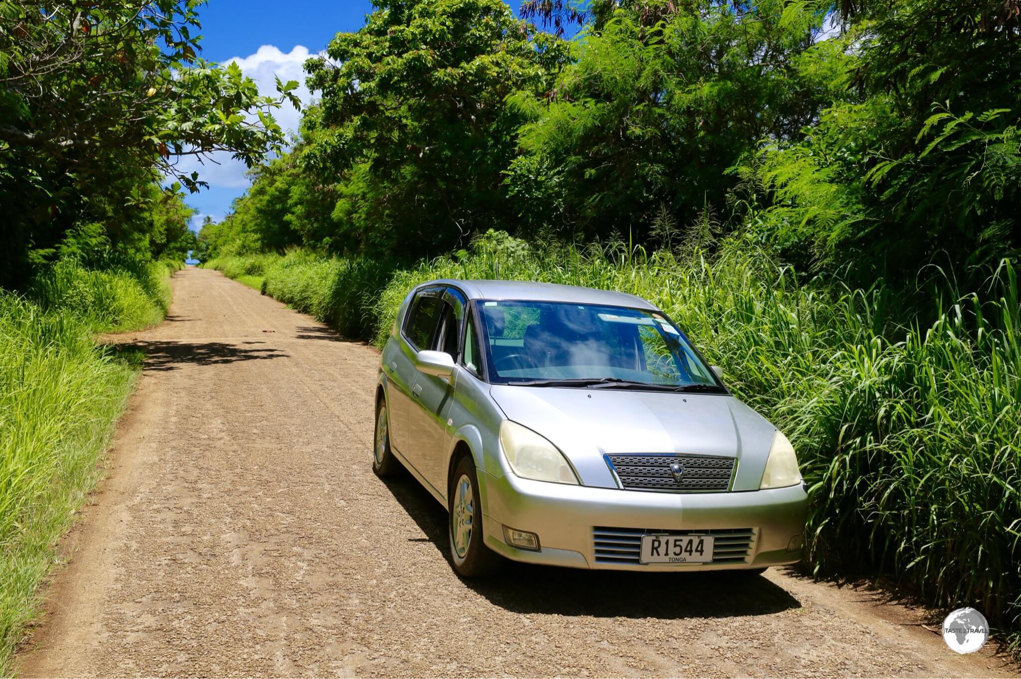 Touring the quiet back roads on Tongatapu.