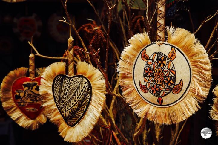Souvenir fans on sale at the Talamahu market in Nuku'alofa.
