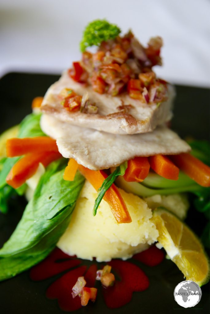 Grilled local snapper - another incredible dining experience at the Waterfront Inn.