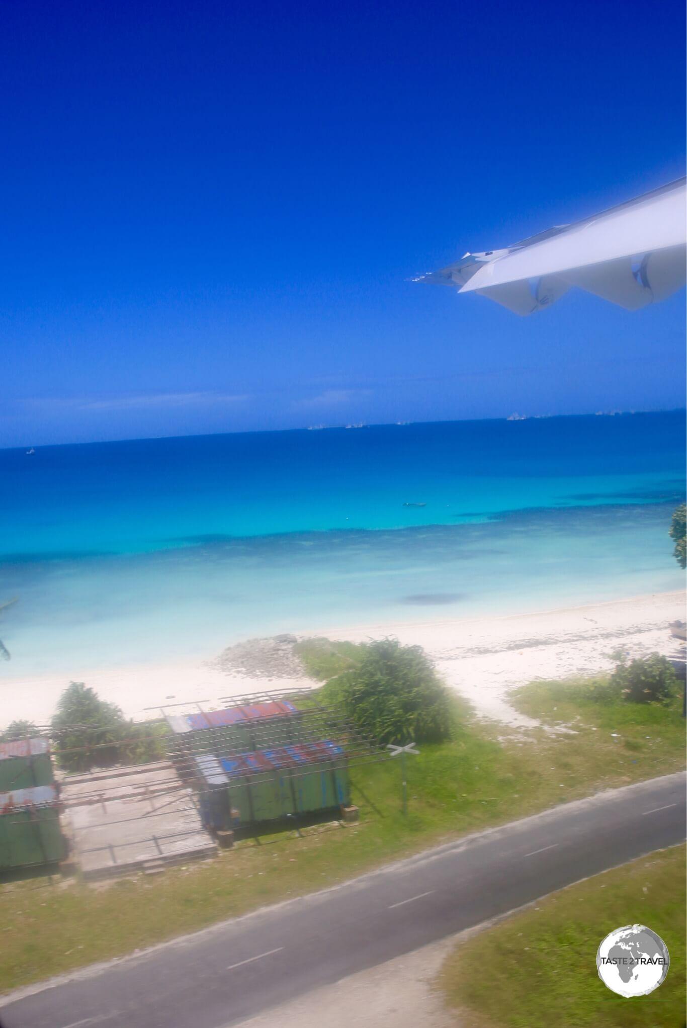 On approach to Funafuti International airport.
