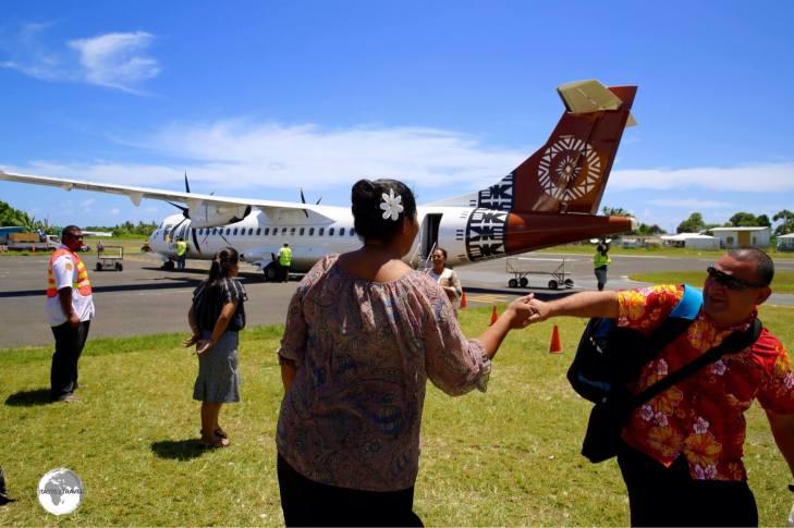 Passengers arriving at Funafuti International airport.