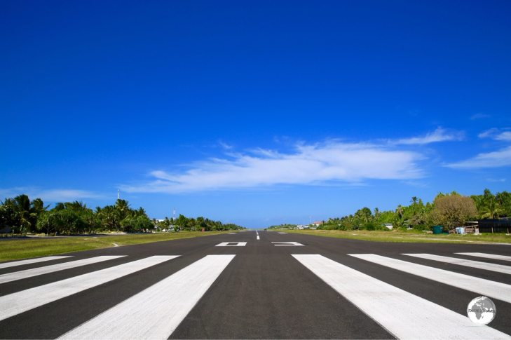 The runway at Funafuti International airport occupies the widest part of the island.