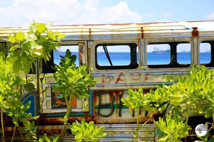 Views of Funafuti Lagoon through the windows of an abandoned Filipino Jeepney.