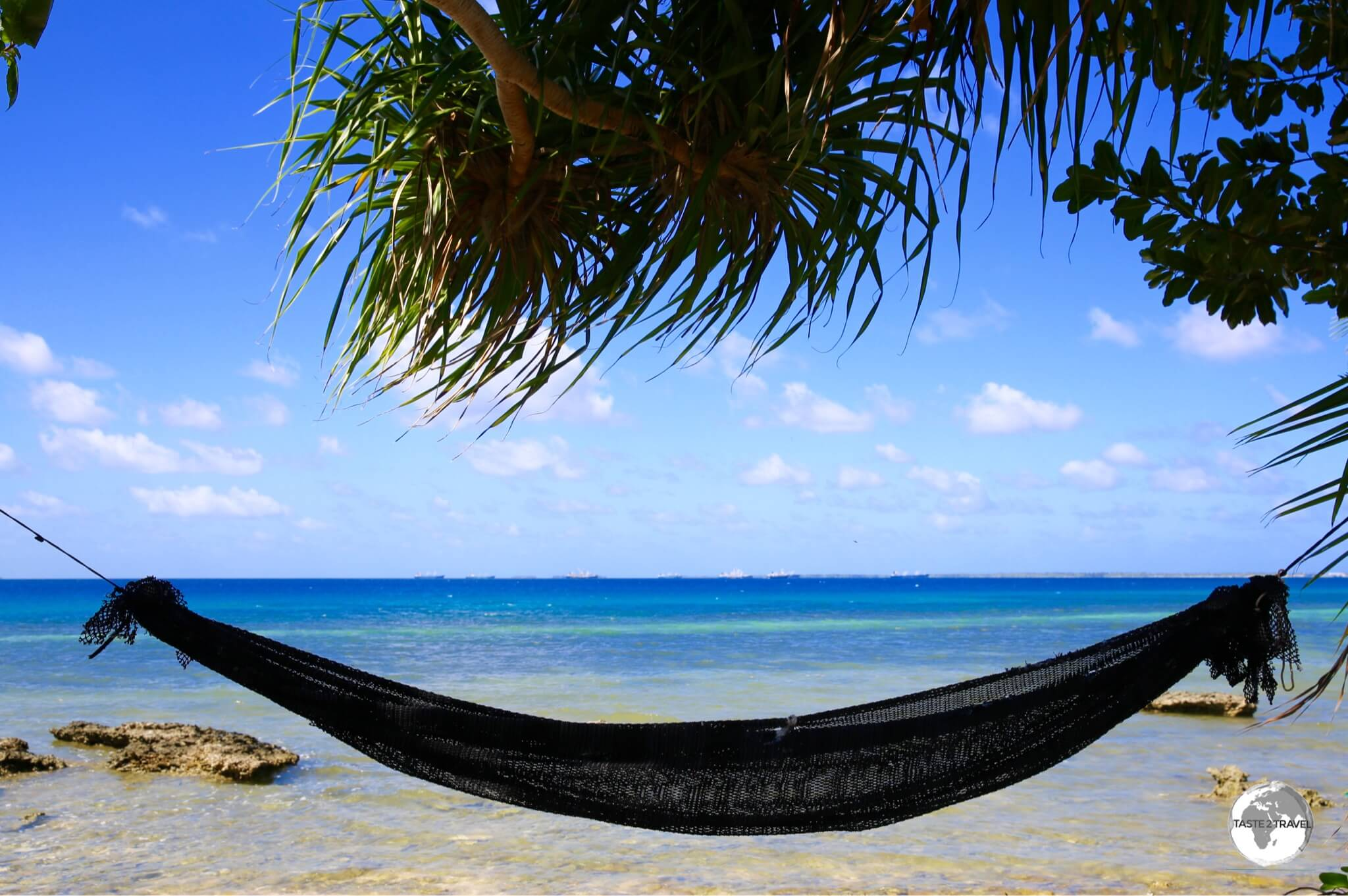 All homes on this narrow atoll have sea frontage and most have a hammock or overlooking the lagoon.
