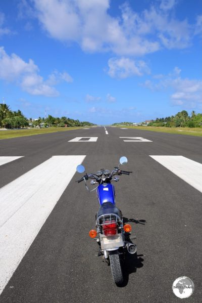My motorbike on the runway at Funafuti.