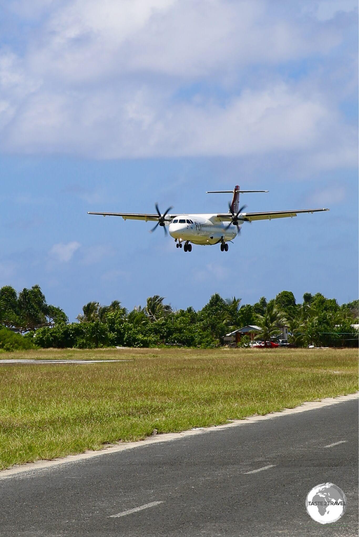 Fiji airways arriving on remote Tuvalu.