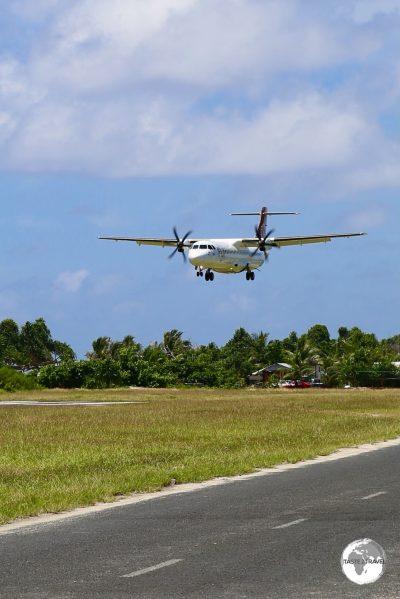 Fiji airways arriving at Funafuti International Airport.