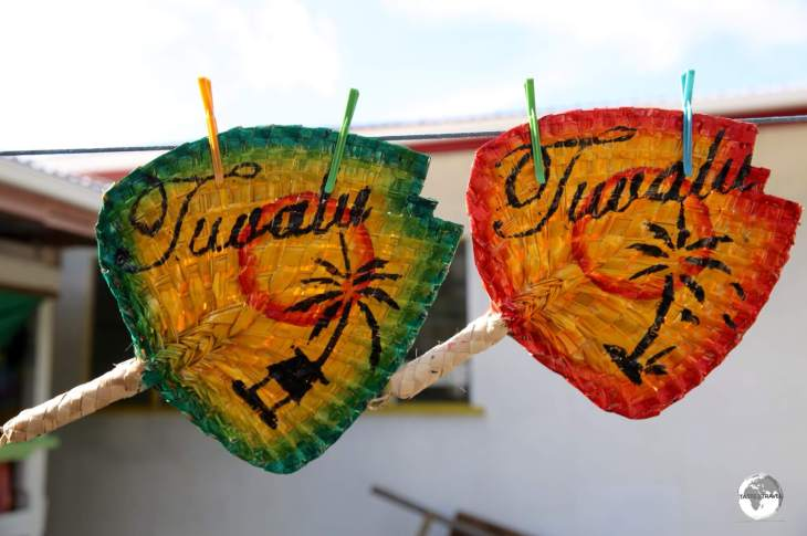 Painted, hand-woven Tuvaluan fans make for nice souvenirs.