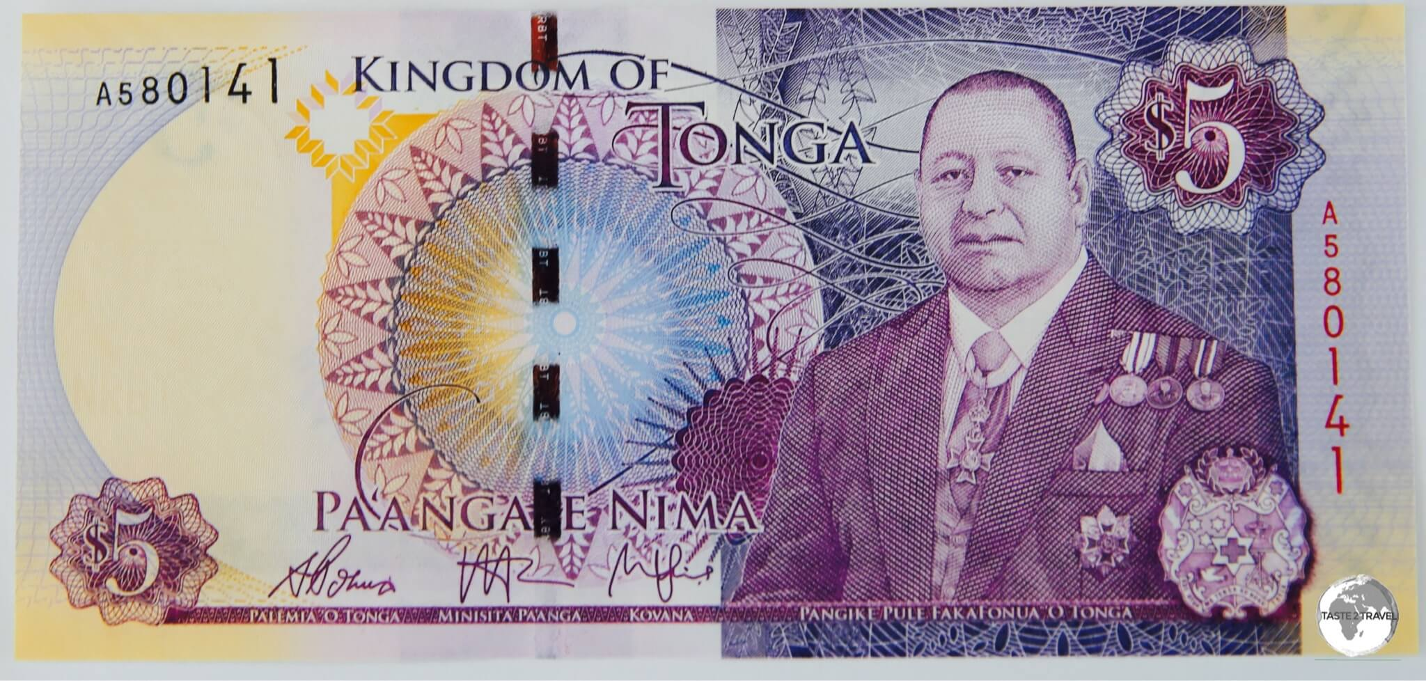 All bank notes in Tonga feature King Tupou VI.