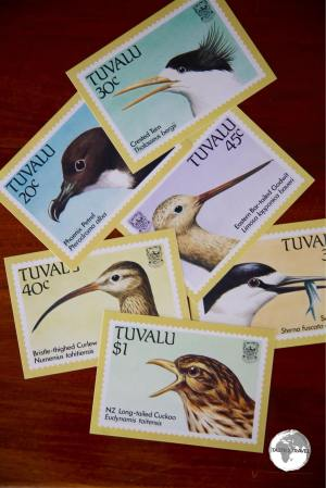 Postcards featuring Tuvalu stamps from the Post Office.