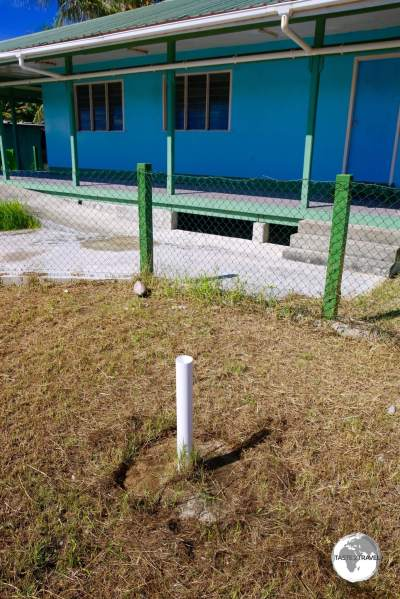 A white PVC pipe marks the bore-hole from David's Drill.
