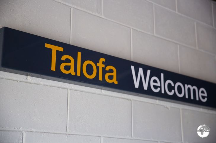 'Welcome' signage inside the new arrivals hall.