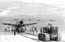 An archive photo from WWII shows the ramp in operation prior to the completion of the airfield. Source: Wikipedia