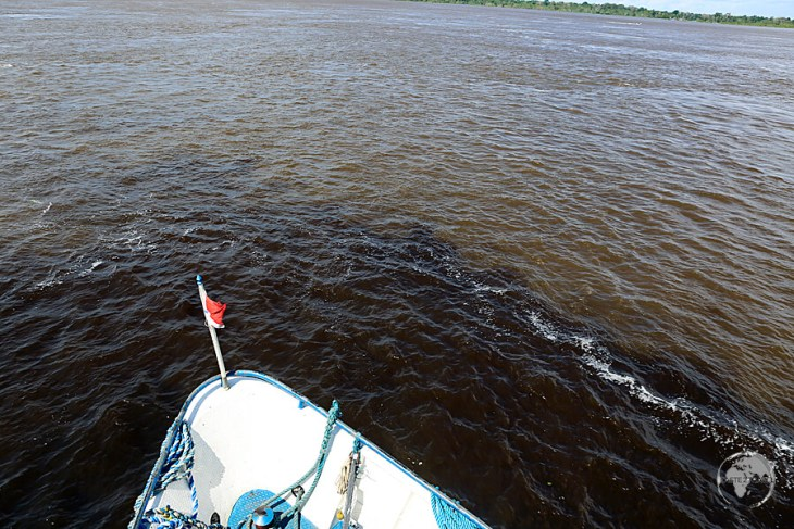 Our boat from Manaus to Santarém passing through the 'Meeting of the Waters'.