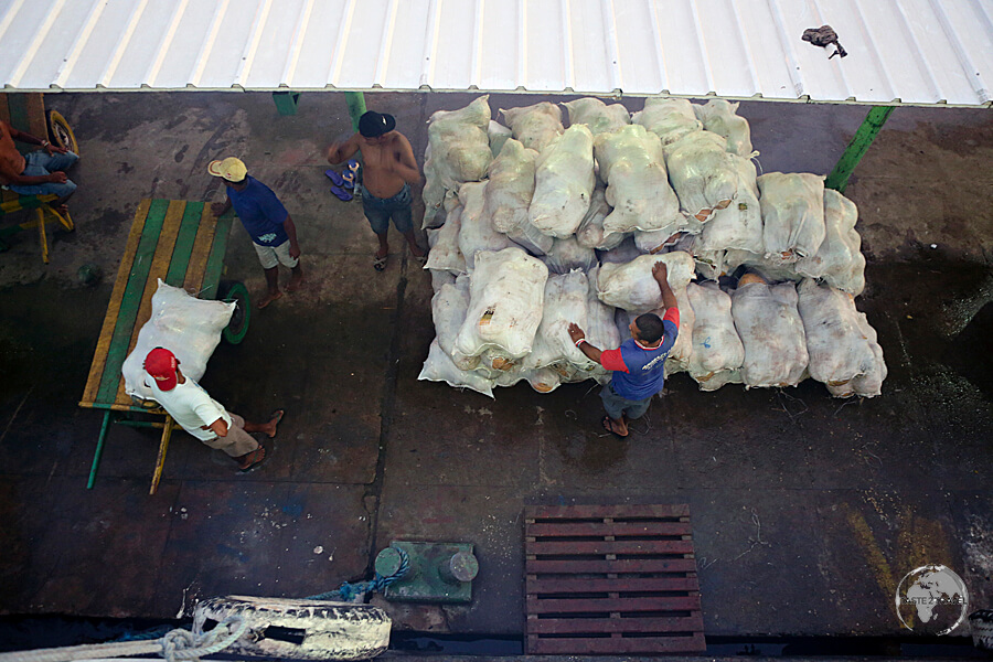 Loading sacks of coconuts onto our slow boat at the Amazonian port of Monte Alegre.