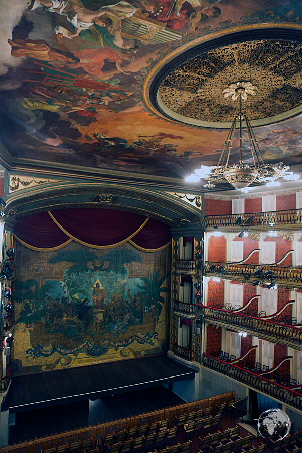 The opulent Teatro de Paz (Theatre of Peace) in Belém was built during the colonial era using proceeds from the Rubber boom.