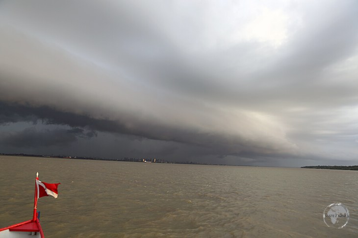 Storm clouds over the Amazon River near Belem.