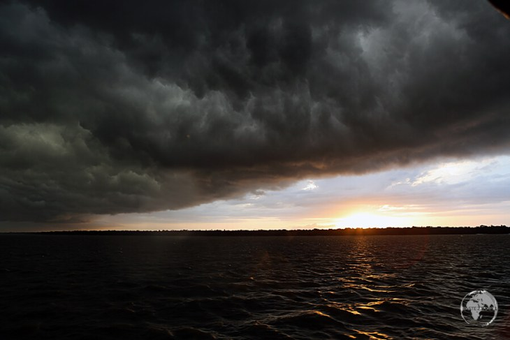 Storm clouds over the Amazon river near Belém.