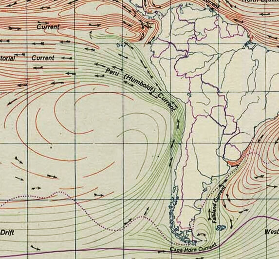 Traveling from Antarctica, the cold Humboldt current sweeps north along the west coast of South America then moves west along the Equator to the Galapagos Islands.