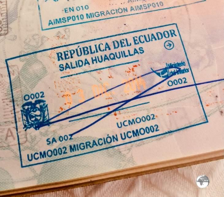 Ecuadorian Passport Stamp.