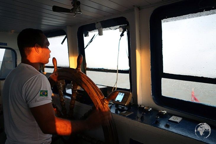 The captain of our ferry from Marajó Island to Belém, with the usual afternoon storm raging outside.
