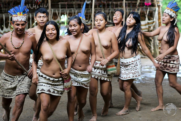 Indigenous dancers at the Yagua Indian Village.
