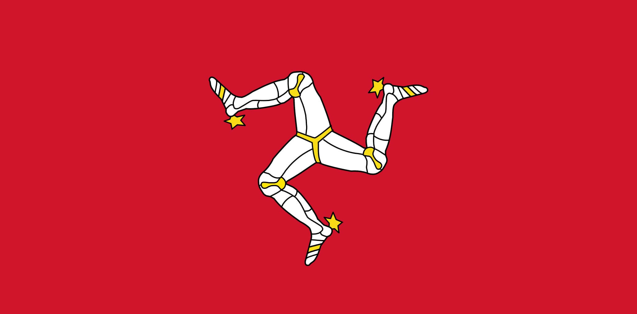 "The unique flag of the Isle of Man features the ""Triskelion"" - the legs of Man."
