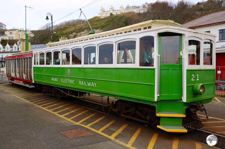The Manx Electric railway ready to depart from the promenade at Douglas.