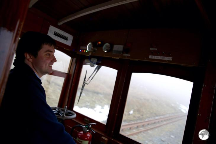 Travelling to the summit of Mt. Snaefell on the Mt. Snaefell railway.