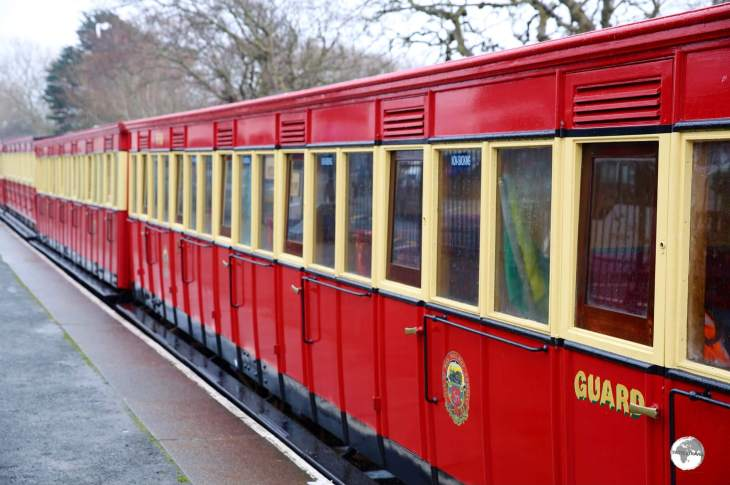 The distinctly red carriages of the Isle of Man Steam Railway Company.