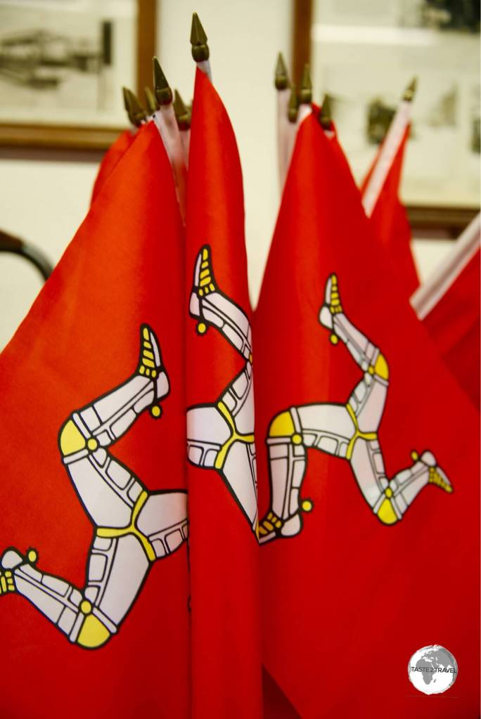 Souvenir flags for sale in Douglas.