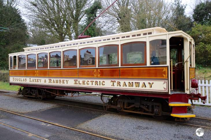 The Manx Electric railway ready to depart from Ramsay (Parsonage Road) for Douglas.