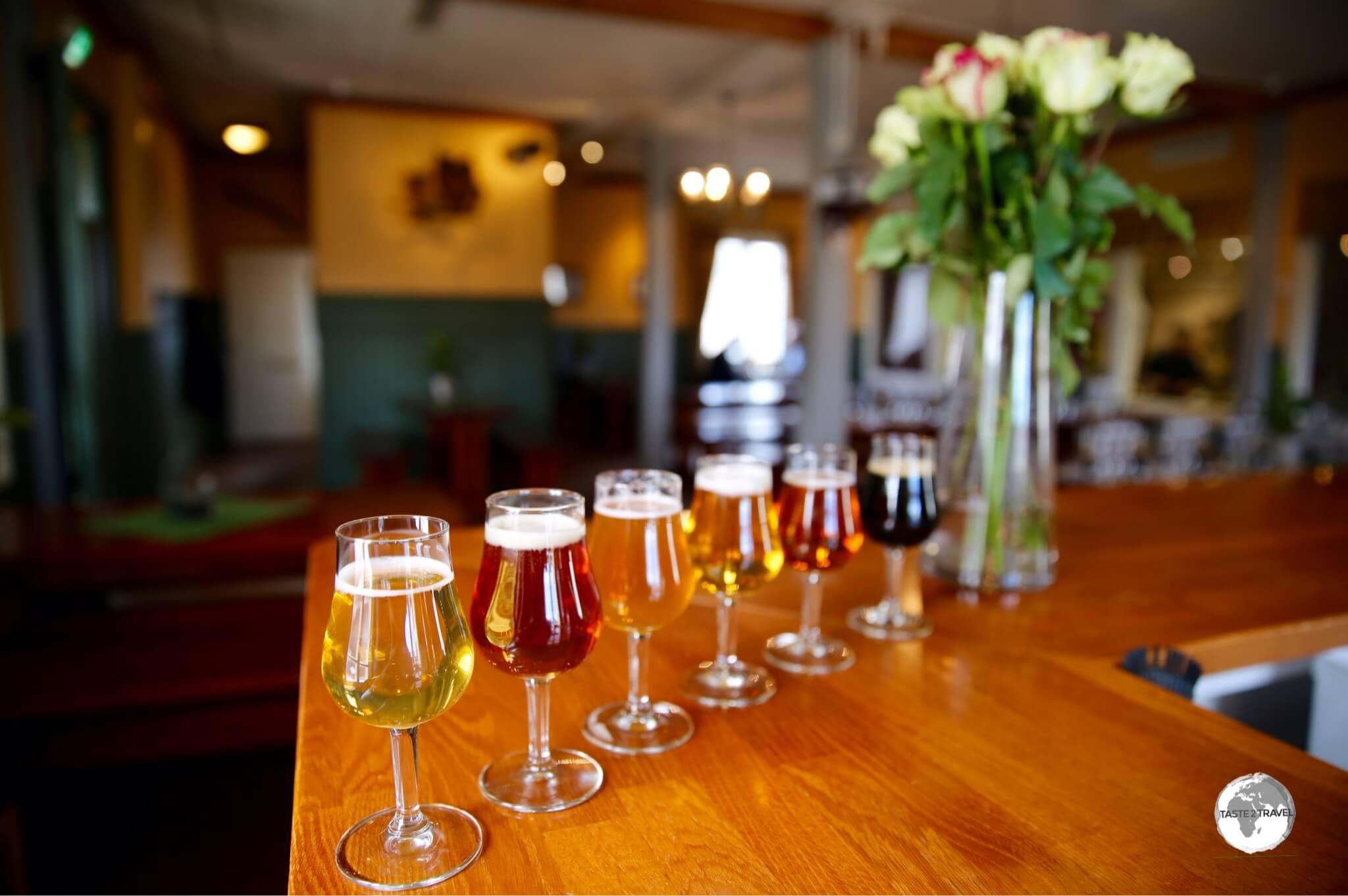 Beer tasting at the Skallhagen Brewery.