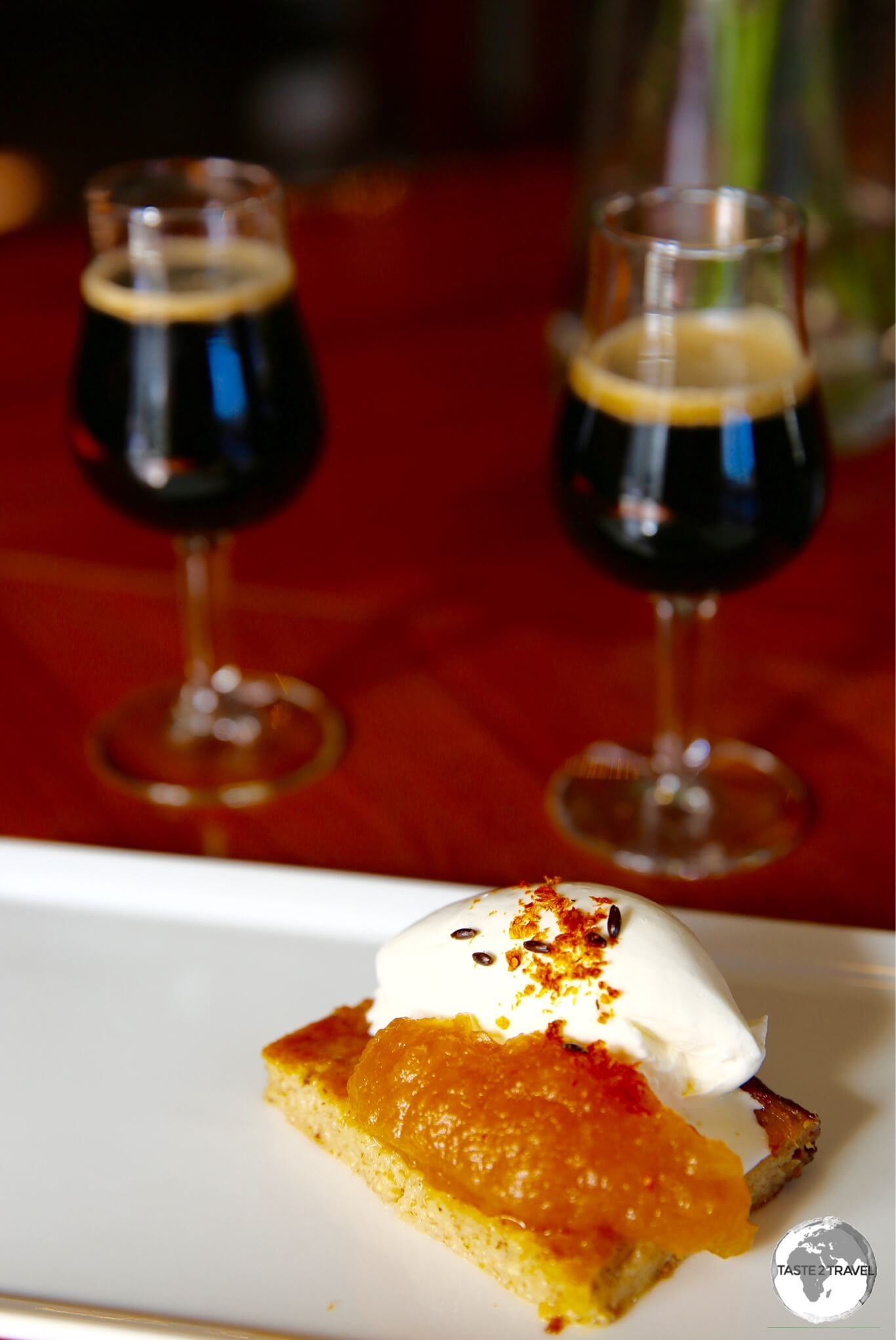 An Åland pancake paired with two different stouts at the Skallhagen brewery.