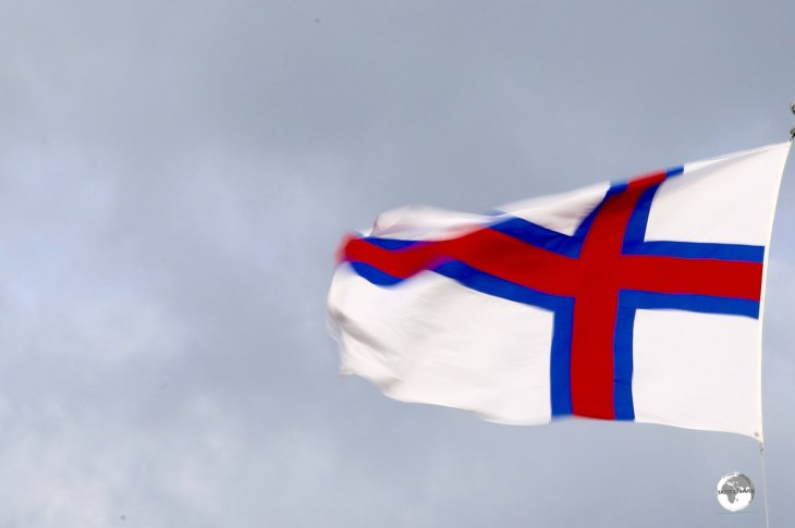 The Faroe Islands flag flying in downtown Tórshavn.