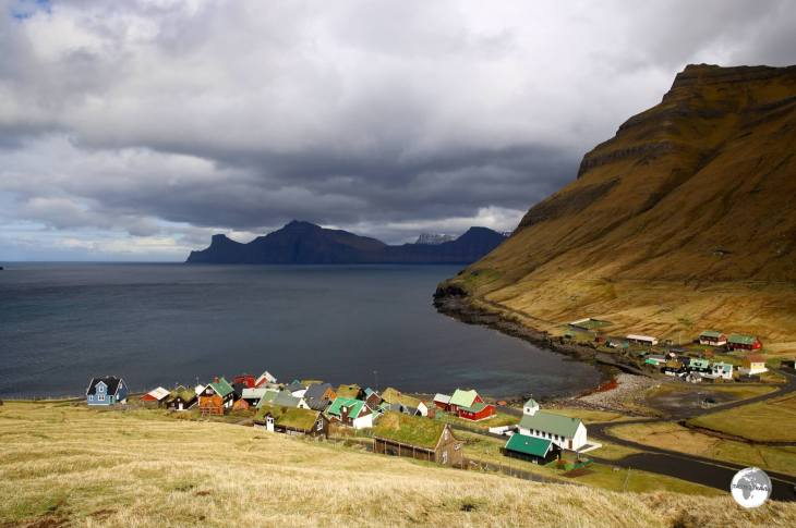 A view of the picturesque village of Elduvik, which lies on the Funnings Fjord inlet.