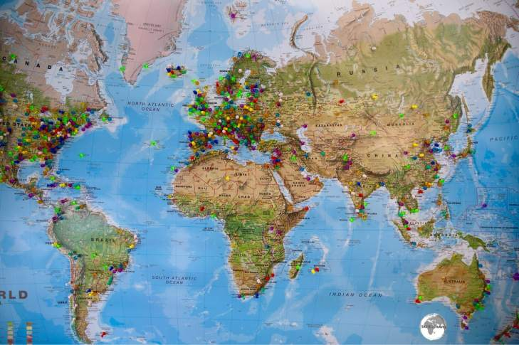World Map with Pins.