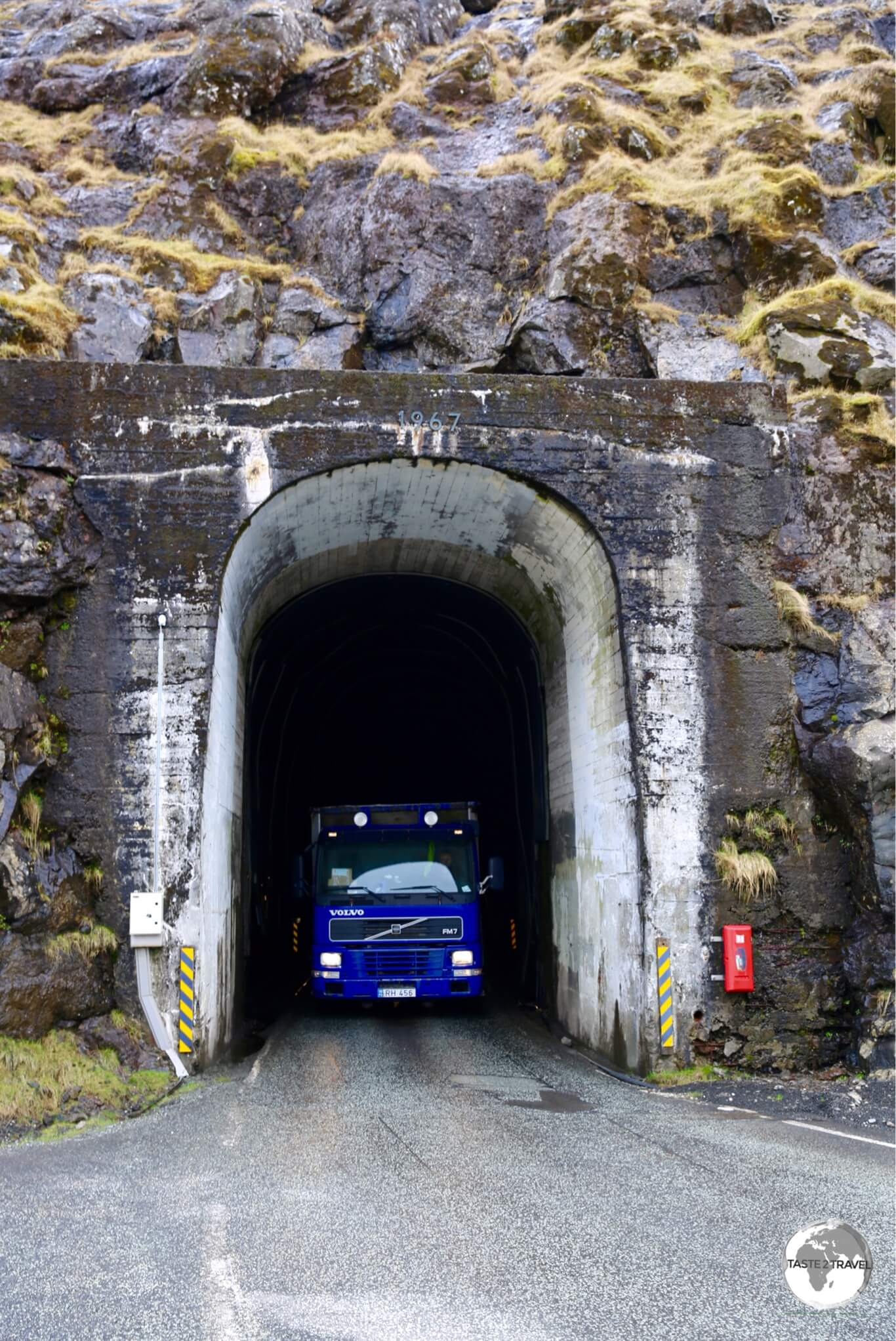 Entrance of the Hvannasundstunnilin (Hvannasund Tunnel) close to Norðdepil on the island of Borðoy.