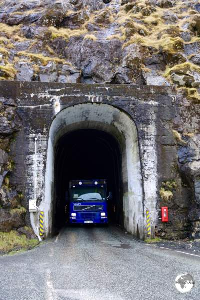 Me yielding (who wouldn't?) to an approaching truck, at the entrance of the 2-km long Hvannasundstunnilin (Hvannasund Tunnel) close to Norðdepil on the island of Borðoy.