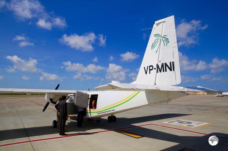 Boarding the FlyMontserrat flight at Antigua airport.