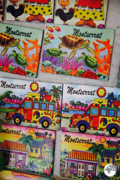 Souvenirs on sale at one of the few gift shops on the island.