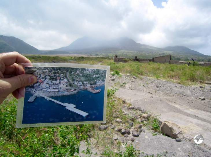 A photo of Plymouth in its heyday as the capital of Montserrat, before it was devastated by a pyroclastic flow.
