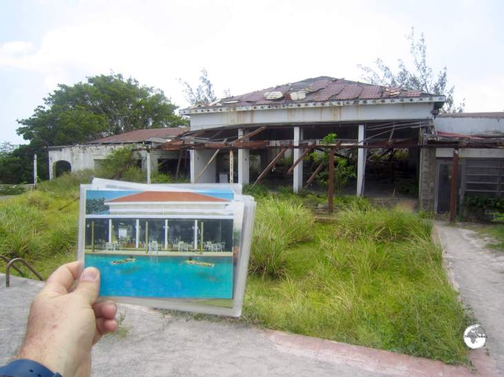 A 'before and after' photo of the pool area at the Montserrat Springs hotel.