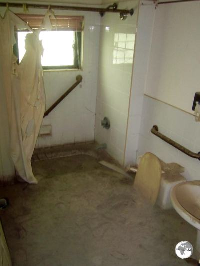 This mud and ash filled bathroom at the former Montserrat Springs hotel is definitely out of order.