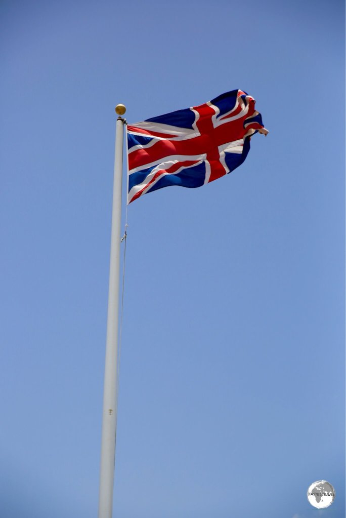 The Union Jack flying outside the Governors Office in Brades.