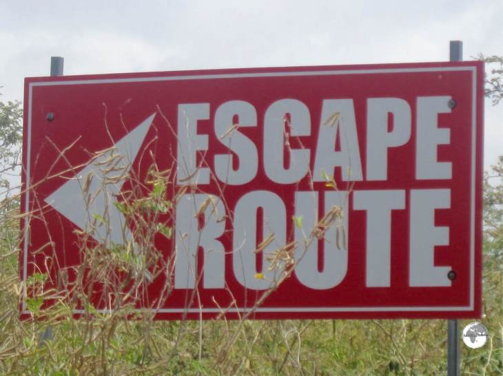 Important signage inside the exclusion zone on Montserrat!