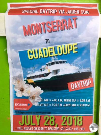 An advertisement announces a day trip to neighbouring Guadeloupe on the Jaden Sun.