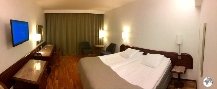 My comfortable room at the Hotel Arkipelag in Mariehamn.