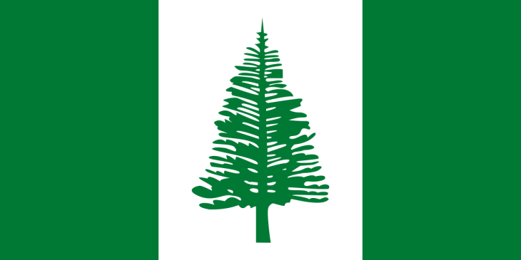 The flag of Norfolk Island features a Norfolk Island pine.