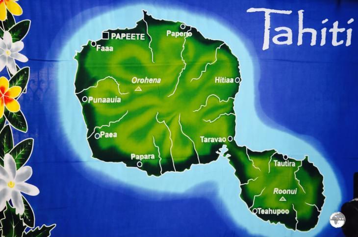 A map showing the larger 'Tahiti Nui' and 'Tahiti Iti' printed onto a sarong.